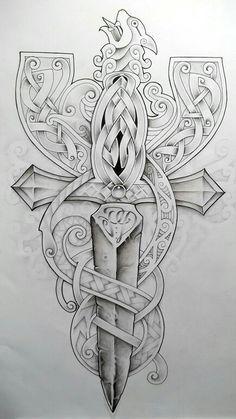Celtic by Tattoo-Design on DeviantArt Celtic Warrior Tattoos, Celtic Cross Tattoos, Norse Tattoo, Arte Viking, Viking Art, Viking Woman, Tatoo Art, Body Art Tattoos, 3d Tattoos