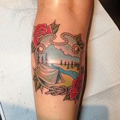 46 Perfectly Lovely Travel Tattoos  This tattoo's rope design, thistles instead of roses, my coastline design inside