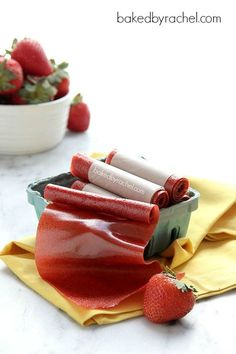 Easy Homemade Strawberry Fruit Leather by bakedbyrachel #Snack #Healthy #Kids #Fruit_Leather