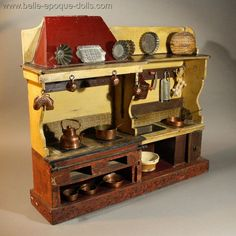 Antique French Miniature Kitchen with Water Tank and <em>Potager</em> Oven.