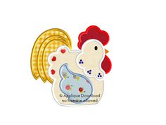 Chicken - Rooster Embroidery Applique - Instant EMAIL With Download - 3 sizes - for Embroidery Machines