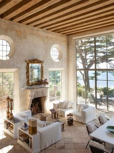 Interior Design by Richard Shapiro. Photo via C Home - luxury seaside homes - luxury coastal homes - neutral living rooms - rustic living rooms - rustic beachfront interior design Living Room Designs, Living Spaces, Living Area, Mediterranean Living Rooms, Mediterranean Style, Italian Living Room, Mediterranean Fireplaces, Tuscan Style, Design Case