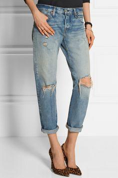 Levi's 501 CT Jeans 501 CT distressed mid-rise straight-leg jeans NET-A-PORTER.COM