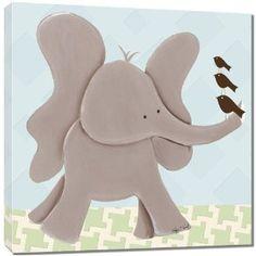 """Doodlefish Gallery-Wrapped 18""""x18"""" Wall Art, Ellis Elephant"""