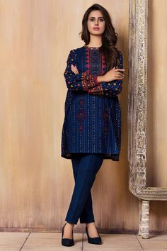 Beautifully printed blue unstitched pret wear By Kayseria Brand Collection