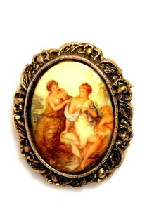 Vintage Porcelain Transfer Brooch Two Women And by TheFashionDen