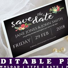 Newly added today is this printable save the date card which you personalise yourself. It's part of our first 4 piece wedding set. You can buy the items individually, or get the 4 piece wedding suite for the price of 3. Look for the other matching items.