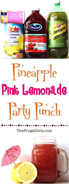 Pineapple Pink Lemonade Party Punch from the perfect punch for your parties showers and weddings Easy and SO delicious Pineapple Pink Lemonade Party Punch from the pe. Pink Lemonade Punch, Lemonade Punch Recipe, Cranberry Lemonade, Pineapple Lemonade, Cranberry Juice, Cranberry Cocktail, Non Alcoholic Punch, Party Drinks Alcohol, Fun Drinks