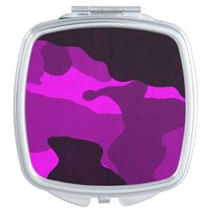 Square Compact Mirror - pink camo