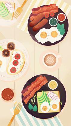Breakfast & brunch by artist Adrianne Walujo illustration Food Wallpaper, Kawaii Wallpaper, Cartoon Wallpaper, Pastel Wallpaper, Cute Illustration, Digital Illustration, Pinterest Instagram, Brunch, Food Cartoon