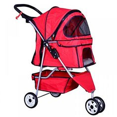 Folding Pet Stroller Wheels Mesh Cat Dog Travel Carrier Walking Jogging Red *** Want additional info? Click on the image.