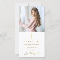 Golden Signature Photo First Holy Communion Thank You Card Photo Thank You Cards, Thank You Messages, First Holy Communion, Gold Letters, Custom Photo, Keep It Cleaner, Holiday Cards, Greeting Cards, Place Card Holders