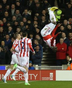 Kenwyne Jones of Stoke City celebrates scoring his team's second goal during the Barclays Premier League match between Stoke City and Liverpool on 26 Dec 2012