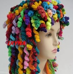 Too Many Hats. Darn, no pattern but I think you could just add the corkscrew curls to just about any single crochet hat pattern.Darn, no pattern but I think you could just add the corkscrew curls to just about any single crochet hat pattern. Learn To Crochet, Crochet For Kids, Crochet Baby, Knit Crochet, Diy Crochet Wig, Spiral Crochet, Funny Crochet, Crochet Children, Crochet Costumes