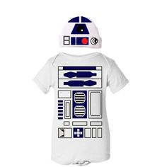 Droid Robot Halloween Infant Toddler Onezie Bodysuit Creeper and Hat Cute Funny Baby Boy / Girl / Unisex - White , Black, Royal Blue and Red. $26.00, via Etsy.  Need for my grandbaby