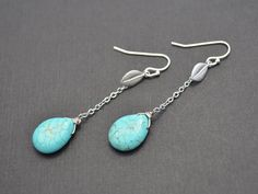 SALE  Turquoise teardrop and leaf earrings  van LilliDolli op Etsy, $14.99