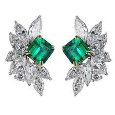 Emerald, Diamond, Platinum and 18K Gold Earrings