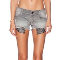 Distressed cut-off Black orchid shorts Brand new, never worn Black Orchid gray distressed cut-off shorts with embellished pockets Black Orchid Jeans