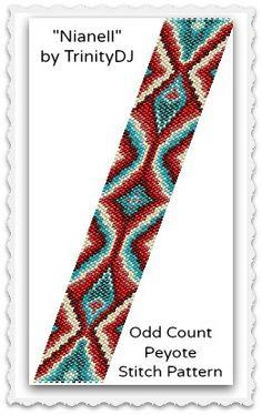 BPAB133  Nianell  Odd Count Peyote Stitch Bracelet by TrinityDJ, $7.50