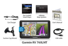 The Garmin RV 760LMT navigator comes with customized RV routing for lower 48 states and Canada.