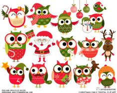 Tribal owls digital clip art for Personal and by Giftseasonstore