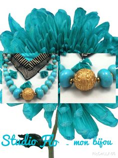 Turquoise and gold are the colors of royalty ,elegance and prosperity ... Facebook.com/studioflomonbijou