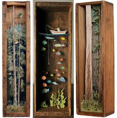 Magical tiny worlds by Allison May KiphuthAllison May Kiphuth is a New Hampshire Seacoast-based diorama artist and nature enthusiast who spends a large portion of her time putting big landscapes into. Shadow Box Kunst, Shadow Box Art, Ocean Diorama, Deer Pictures, Tiny World, Miniature Crafts, Assemblage Art, Small Art, Book Nooks