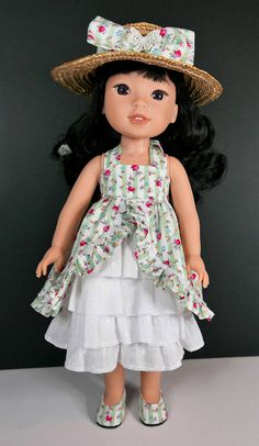 "Tea party dress, hat and shoes to fit 14.5""  dolls like wellie wishers"