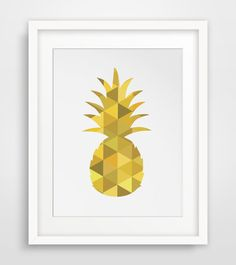 Yellow Pineapple, Pineapple Wall Print, Mustard Yellow Wall Prints, Pineapple Art, Printable Wall Art, Yellow Home Decor, Digital Download #pineappleprints