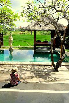 My lil boy sitting at the villa in Bali.