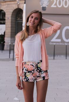 Floral shorts and matching cardigan