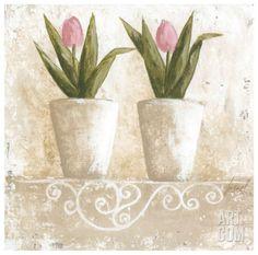 Tulipes en Pot Art Print by Véronique Didier-Laurent at Art.com