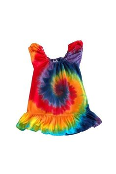 Tie Dye Rainbow Swirl Puff Sleeve Toddler Dress by inspiringcolor, $20.00