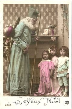 Santa Claus in Green Robe with Children Antique French Christmas Photo Postcard | eBay