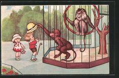 carte postale ancienne: CPA Illustrateur Margret Boriss: frecher Affe klaut Jungen den Hut