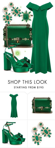 """Emerald City: Pops of Green"" by farrahdyna ❤ liked on Polyvore featuring Elizabeth Kennedy, Fendi, Tabitha Simmons, Kendra Scott and emeraldgreen"