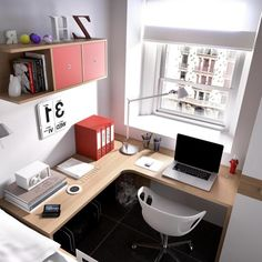 Elegant Study Table For Modern Teen Bedroom Interior Design Ideas: Small Bedroom Interior Design With Wooden Table Design Front Window As Well Bookcase Idea On The Wall Along With Whte Chair On Black Tile Floor ~ justsoakit.com Bedroom Inspiration