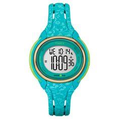 Women's Timex Ironman Sleek 50 Lap Digital Floral Watch - Blue TW5M03100JT, Turquoise