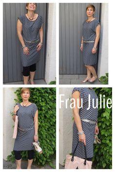 Graues Sommerkleid nach dem Schnitt Frau Julie