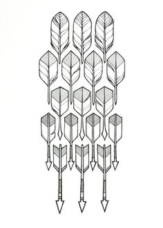 original feathers drawing 'flight' a geometric by lightboxing