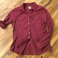 Beautiful mauve converse one star button down So soft!!! EUC. Gorgeous mauve color, roll tab sleeves, ribbed stretchy sides, curved flattering fit. Great relaxed style! Converse Tops Button Down Shirts