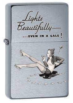 Zippo Brushed Chrom Skater Girl 2 Windproof Vintage Lighter