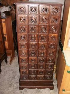 Old singer display/storage cabinet, from early department store. True one of a kind 40 drawer sewing country store cabinet,  {Or put together by old treadle cabinets??)