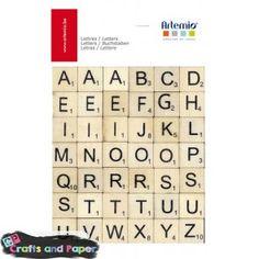 Crafts and paper ξύλινα γράμματα scrabble σετ 42τεμ.abc_