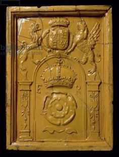 Glazed stove tile with royal coat of arms (ceramic)