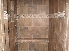 Shower with rock as accent
