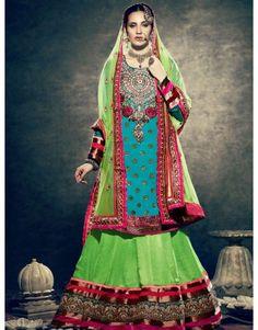 Green Velvet Lehenga Choli with Resham and Zari Work