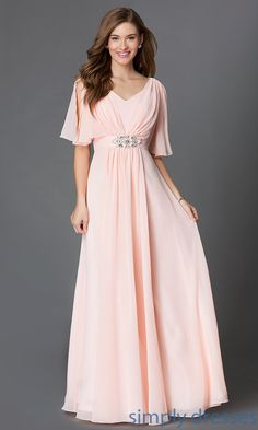 Shop long flutter-sleeve dresses and mother-of-the-bride dresses at Simply Dresses. Long budget prom dresses with empire-waists for formals.
