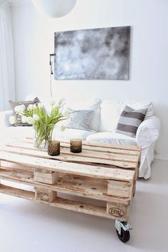 pallet coffee table with casters | rustic | wood + white