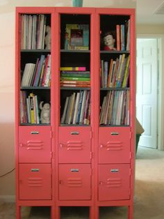 Recycled lockers, painted and with doors removed to work as a bookshelf.